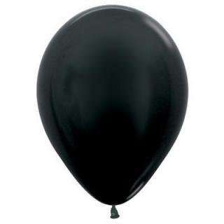 Metallic Black 12cm Balloons P100