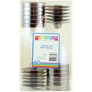Plastic Wine Glass Silver Trimmed 175ml Box 12