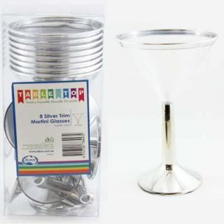 Plastic Martini Glass Silver Trimmed 162ml Box 8