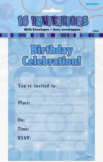 GLITZ BLUE 16 INVITES NOTEPAD