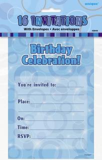 GLITZ BLUE 16 INVITES NOTEPAD