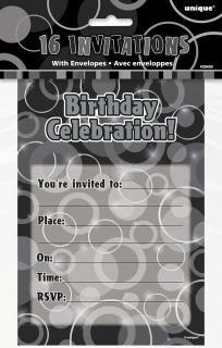 Black Glitz Invitation/Envelope P16