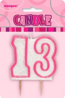 GLITZ PINK NUMERAL CANDLE - 13