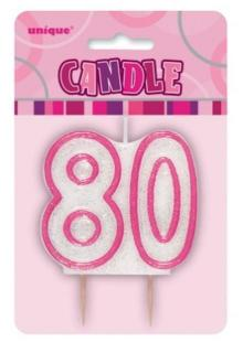 GLITZ PINK NUMERAL CANDLE - 80