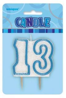 GLITZ BLUE NUMERAL CANDLE - 13