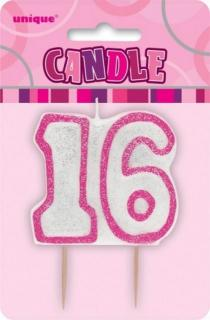 GLITZ PINK NUMERAL CANDLE - 16