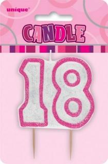 GLITZ PINK NUMERAL CANDLE - 18