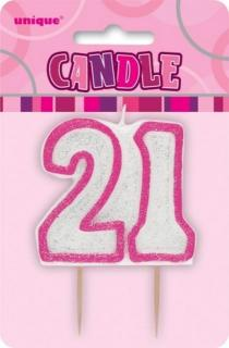 GLITZ PINK NUMERAL CANDLE - 21