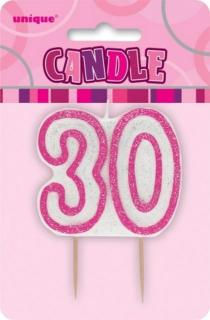 GLITZ PINK NUMERAL CANDLE - 30