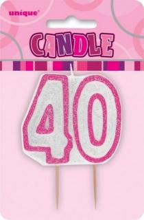 GLITZ PINK NUMERAL CANDLE - 40