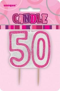 GLITZ PINK NUMERAL CANDLE - 50