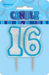 GLITZ BLUE NUMERAL CANDLE - 16
