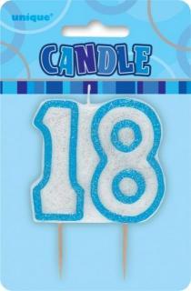 GLITZ BLUE NUMERAL CANDLE - 18