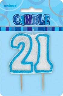 GLITZ BLUE NUMERAL CANDLE - 21