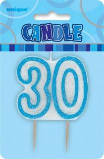 GLITZ BLUE NUMERAL CANDLE - 30