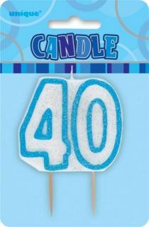 GLITZ BLUE NUMERAL CANDLE - 40