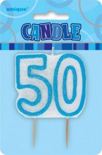 GLITZ BLUE NUMERAL CANDLE - 50