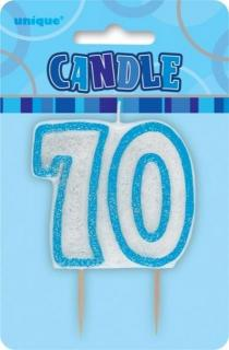 GLITZ BLUE NUMERAL CANDLE - 70