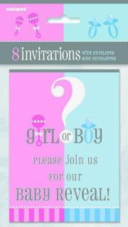 BABY REVEAL 8 INVITATIONS