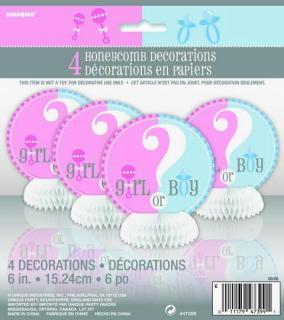 Baby Reveal Mini Honeycomb Decorations P4