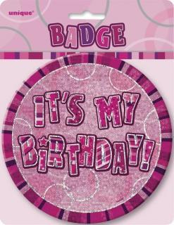 GLITZ PINK B'DAY BADGE - HB