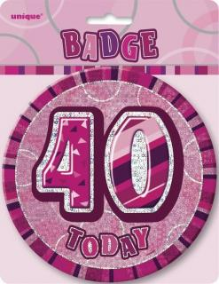 GLITZ PINK B'DAY BADGE - 40
