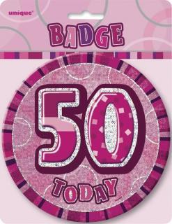 GLITZ PINK B'DAY BADGE - 50