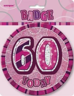 GLITZ PINK B'DAY BADGE - 60