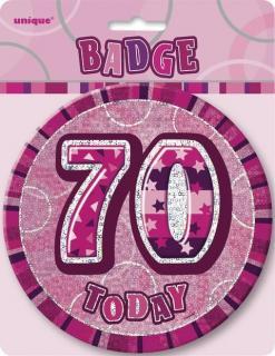 GLITZ PINK B'DAY BADGE - 70