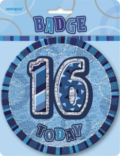 GLITZ BLUE B'DAY BADGE - 16