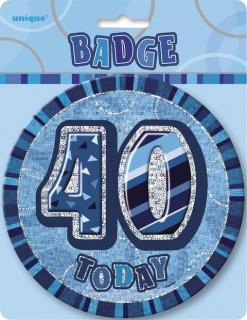 GLITZ BLUE B'DAY BADGE - 40