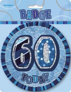 GLITZ BLUE B'DAY BADGE - 60