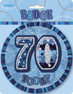 GLITZ BLUE B'DAY BADGE - 70
