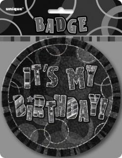 GLITZ BLACK B'DAY BADGE - HB