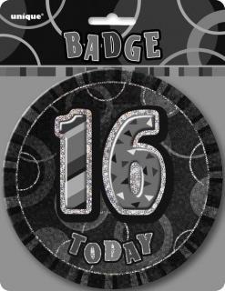 GLITZ BLACK B'DAY BADGE - 16