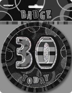 GLITZ BLACK B'DAY BADGE - 30
