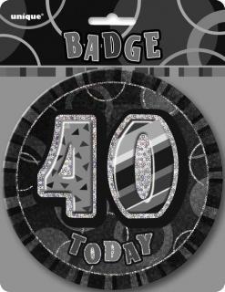 GLITZ BLACK B'DAY BADGE - 40