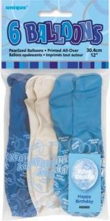 GLITZ 6 x 12 inch BALLOONS - BLUE H/B