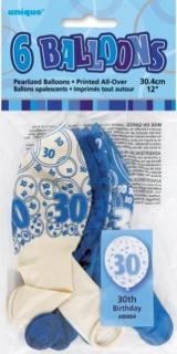 GLITZ 6 x 12 inch BALLOONS - BLUE 30