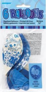 GLITZ 6 x 12 inch BALLOONS - BLUE 40