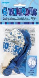 GLITZ 6 x 12 inch BALLOONS - BLUE 50