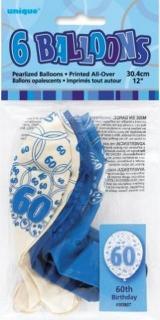 GLITZ 6 x 12 inch BALLOONS - BLUE 60