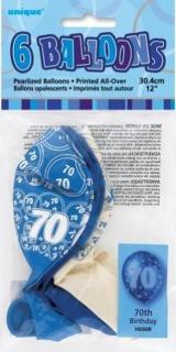 GLITZ 6 x 12 inch BALLOONS - BLUE 70