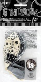 GLITZ 6 x 12 inch BALLOONS - BLACK 18