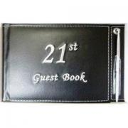 21st Black Guest Book - leather bound