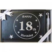 18th Black Guest Book - leather bound