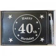 40th Black Guest Book - leather bound