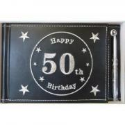 50th Black Guest Book - leather bound
