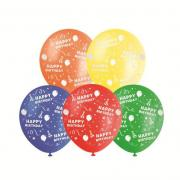 Happy Birthday Balloons - 30cm Printed Balloons 10 Pack