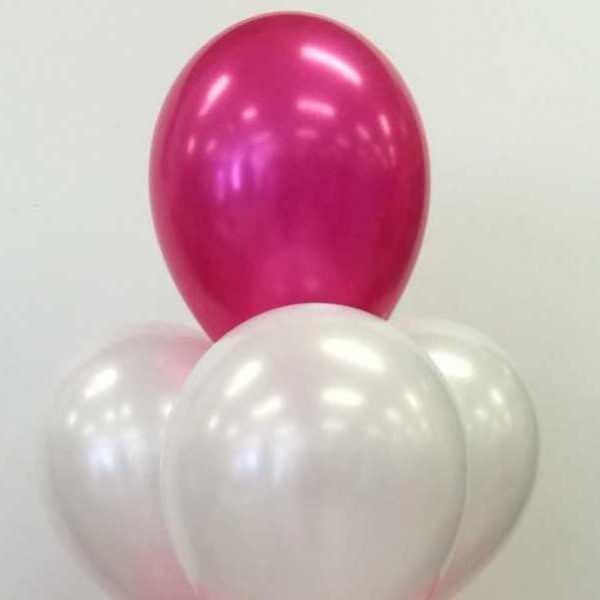 Pearl White & Fushia Balloon Bouquet